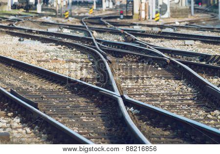 Railway tracks on a sunny day