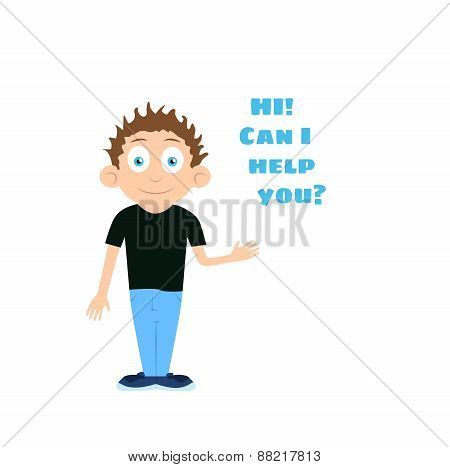 Vector support boy cartoon character offering help with question text