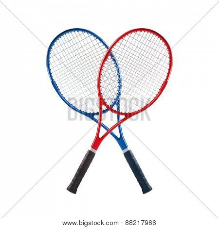 Blue And Red Tennis Rackets Isolated White Background