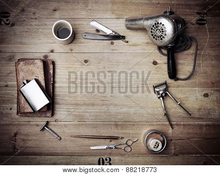 Vintage Barber Shop Equipment On Wood Background With Place For Text