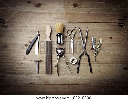 Vintage Equipment Of Barber Shop On Wood Background