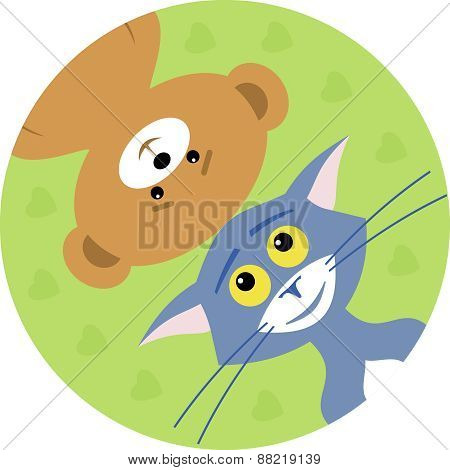 Cat And Bear True Friends