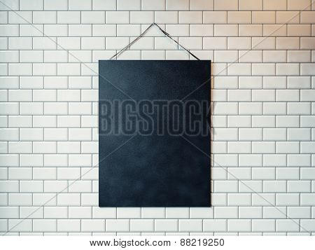 Black Canvas Hanging On The Wall Decorated With White Tiles. 3D Rendering
