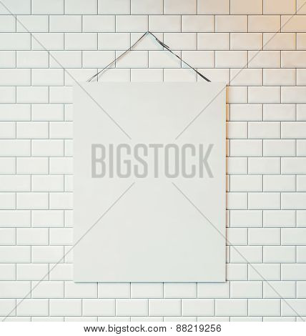 White Canvas Hanging On The Wall Decorated With White Tiles. 3D Rendering