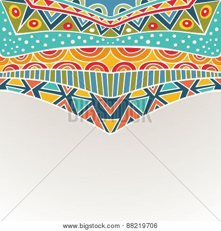 Background With Bright Symmetric Tribal Ornament