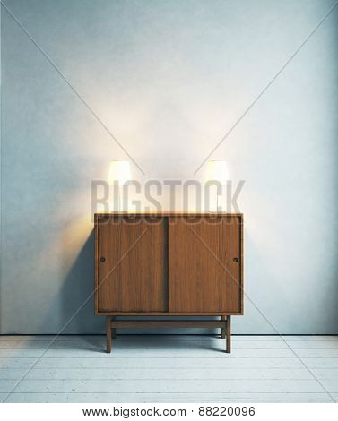 Lamps On The Cabinet. 3D Rendering