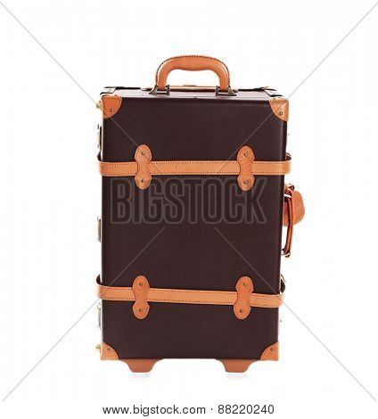 Brown suitcase isolated on white