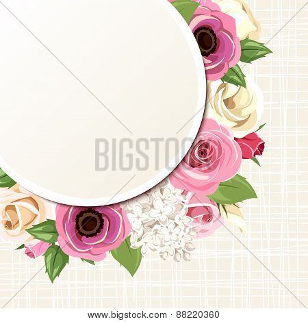 Card with pink and white roses, lisianthuses, anemones and lilac flowers. Vector eps-10.