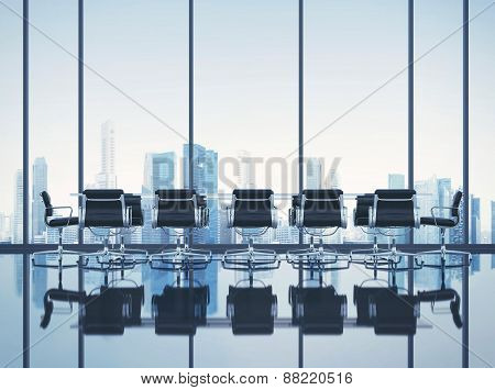 Clean Office With Cityscape. 3D Rendering