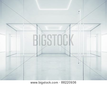 Office Interior With White Walls. 3D Rendering
