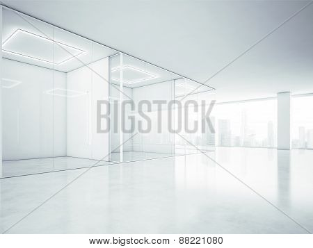 Blank Office Interior With Big Windows. 3D Rendering