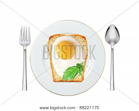 Scrambled Eggs With Bread And Basil On Plate Isolated On White