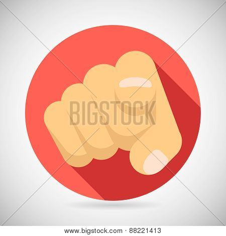 Pointing Finger Potential Client Politician Businesman Elected Icon Concept Flat Design Vector Illus