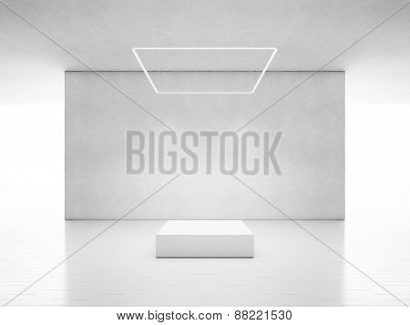White Space With Podium. 3D Rendering
