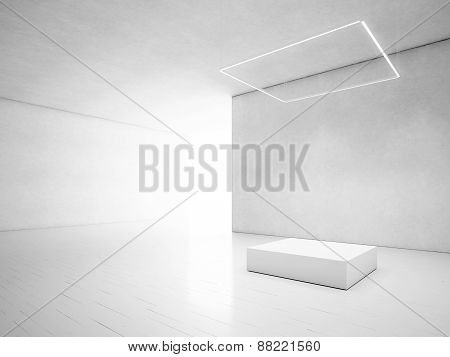 White Loft With Podium. 3D Rendering