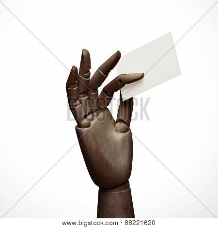 Dark Wood Hand Holding Business Card