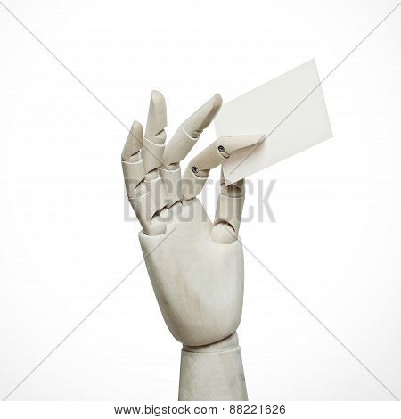 White Wood Hand Holding Business Card