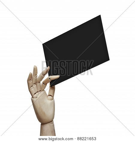 Wood Hand Holding Black Page