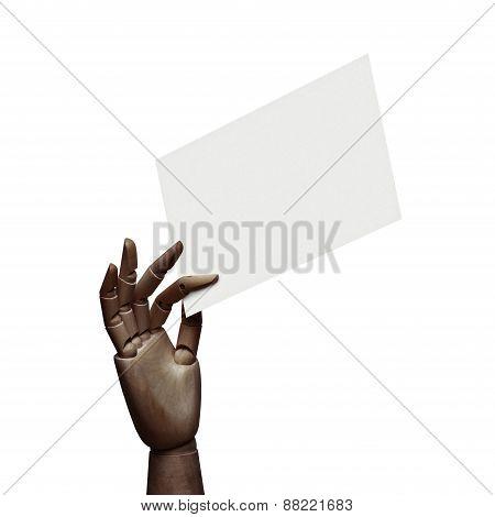Dark Wood Hand Holding White Page