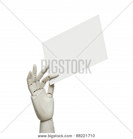 White Wood Hand Holding White Page