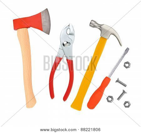 Hammer, Screwdriver, Ax And Wrenches Isolated On White