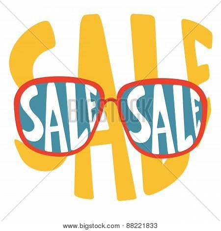 Concept card for sales. Sunglasses with handwritten sale