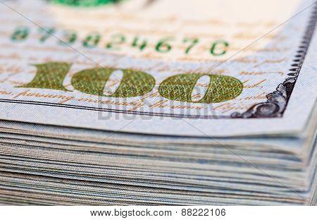 Heap Of One Hundred Dollar Bills Close Up