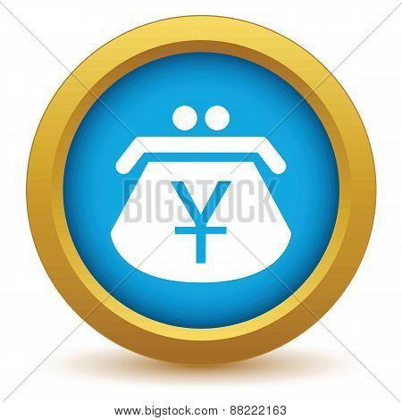 Gold yen purse icon