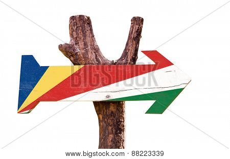 Seychelles Flag wooden sign isolated on white background