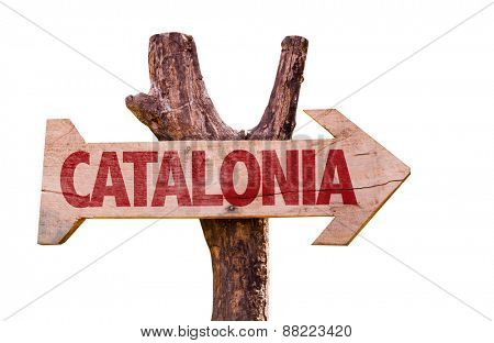 Catalonia wooden sign isolated on white background