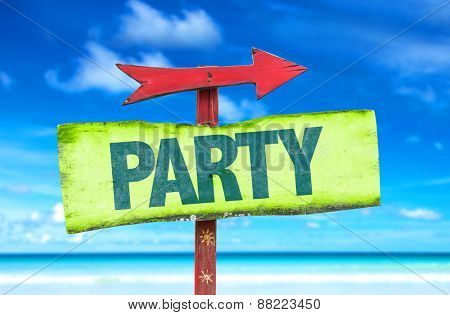 Party sign with beach background