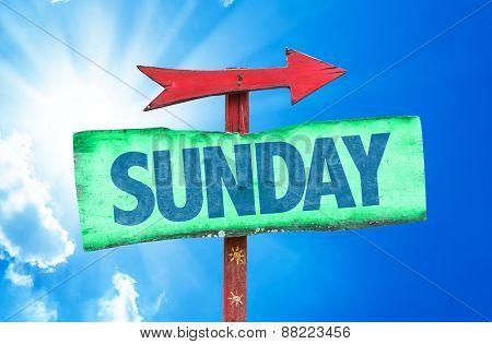 Sunday sign with sky background