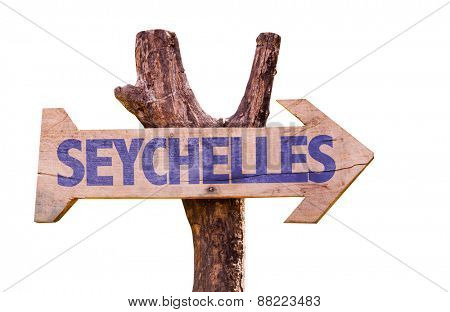 Seychelles wooden sign isolated on white background