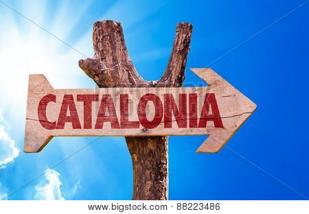 Catalonia wooden sign with sky background