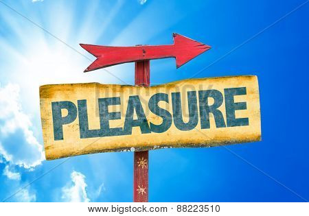 Pleasure sign with sky background
