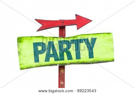 Party sign isolated on white