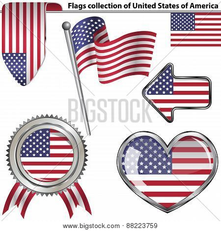 Glossy Icons With Flags Of Usa