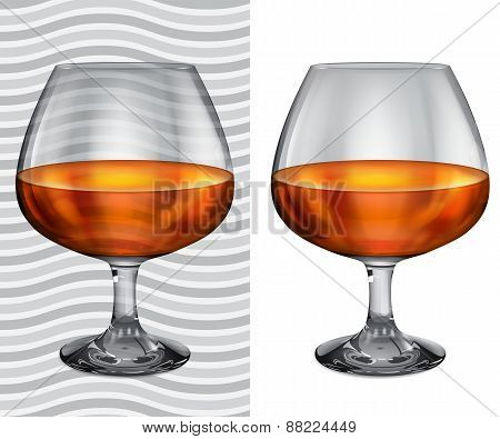 Transparent And Opaque Realistic Full Brandy Glasses
