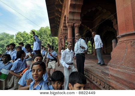 Pupils In The Red Fort, Old Delhi, India.