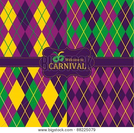 Purple, green and yellow Carnival seamless patterns