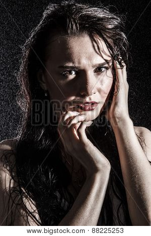 Wet Young Sexy Woman Covered With Water Drops