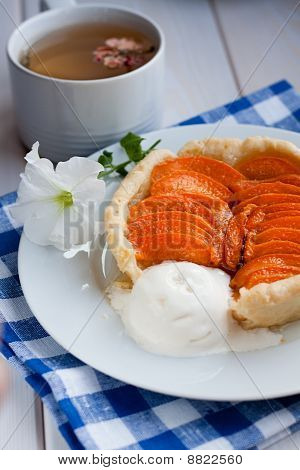 Apricot Tart Served With Ice Cream