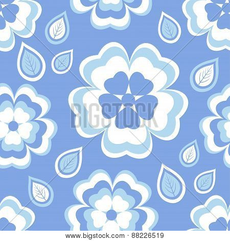 Seamless Pattern Blue With Sakura Blossom And Leaves
