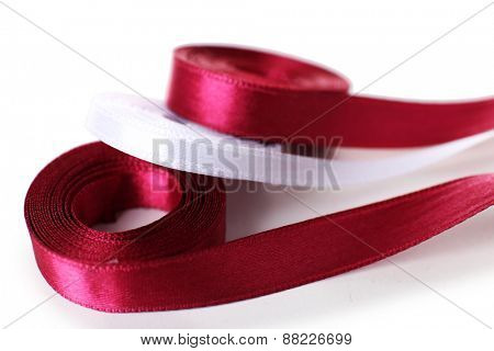 Colorful vinous and white ribbons isolated on white