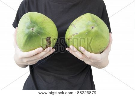 Woman Breast Coconut Fruit Implant Upsize Metaphor Concept