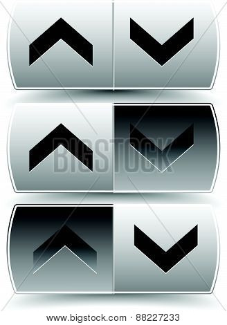 Up Down Arrow Buttons With Pressed, Pushed Versions. For Vertical Alignment, Increase, Decrease, Scr
