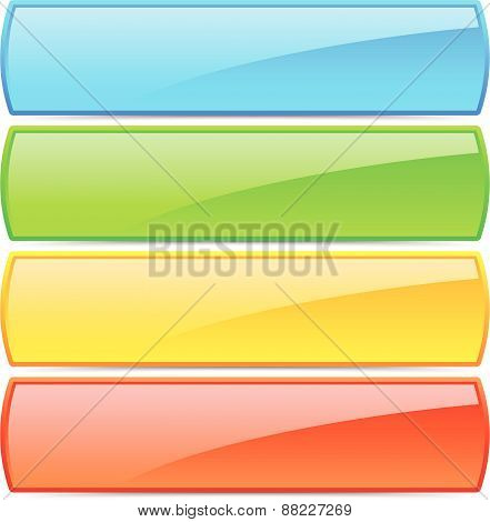 Colorful Button / Banner Backgrounds With Glossy Effect And Empty Space