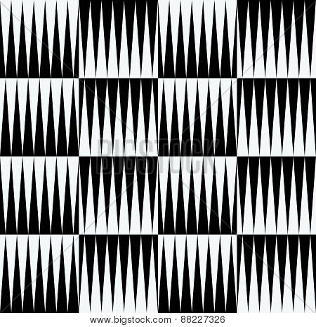 Black And White Pattern Of Edgy, Pointed Shapes. Repeatable Background Of Triangle Shapes. (seamless