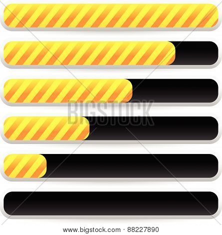Progress, Loading Bars With Striped Texture. Vectors.