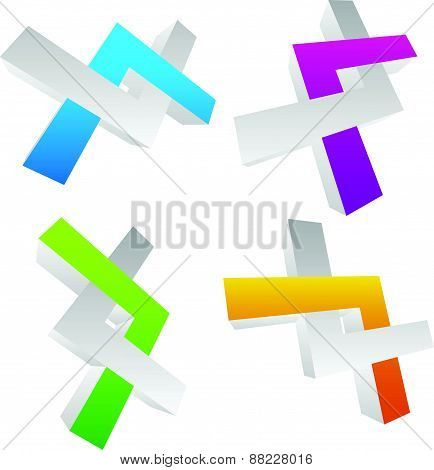 Conjoined Vector Shapes. Overlapping, Intersecting Shapes. Strand, Helix. Abstract Dna String Like E